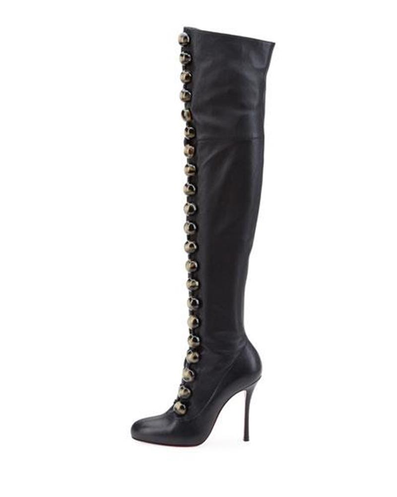 Christian Louboutin Black Button Fabiola 100 Leather Thigh High Over The Knee Heels Boots/Booties Size EU 39 (Approx. US 9) Regular (M, B)