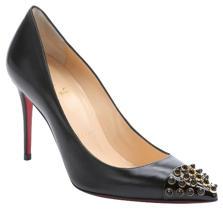 Christian Louboutin Black Cabo Cabo Black 85mm 39/8.5 Studded Leather Pointed Toe Pumps Size US 8.5 Regular (M, B) 0984aa