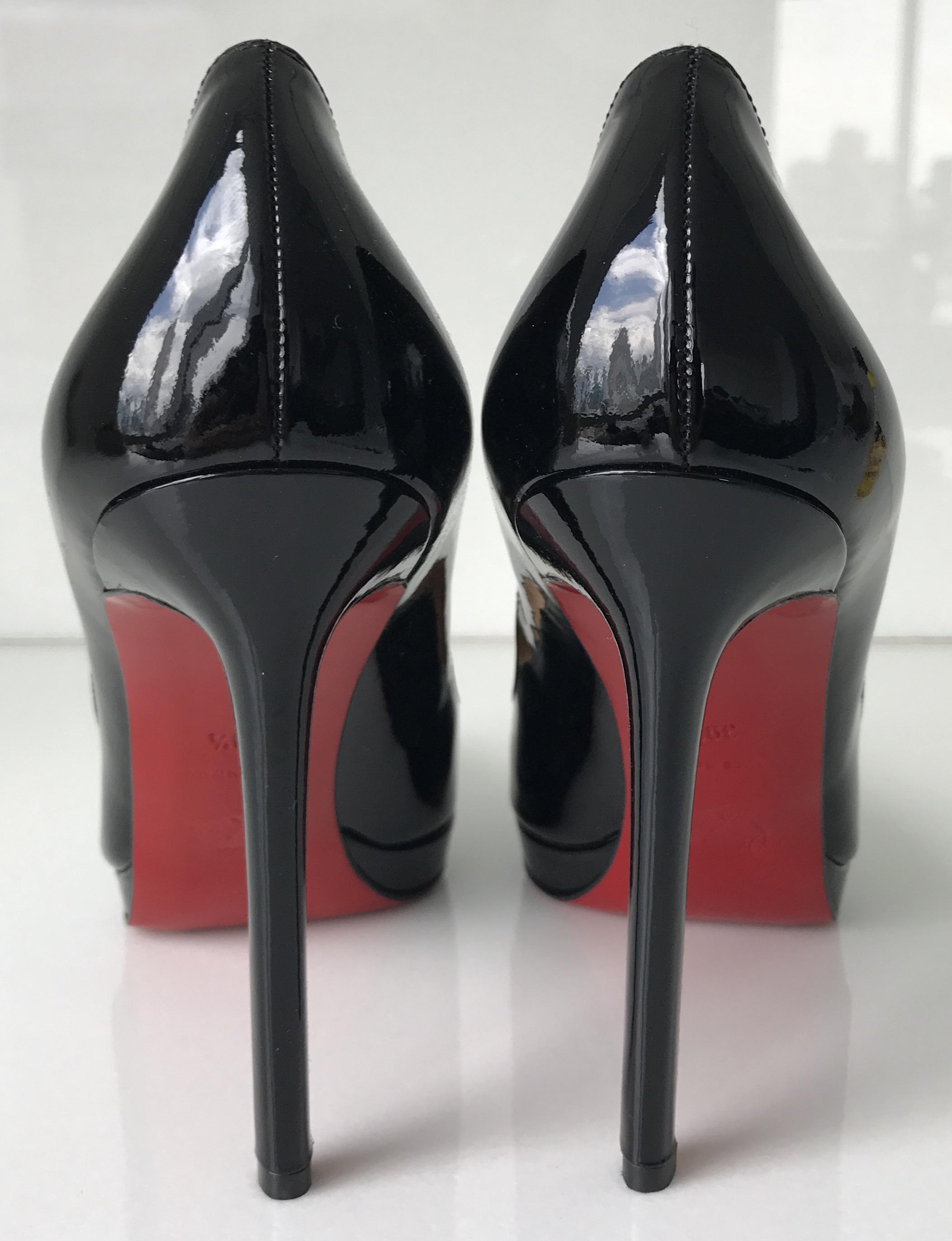 0dd9a1df3c35 ... Christian Louboutin Black Classic Pigalle Plate 120mm Point Toe Patent  Patent Patent Leather Sz. 39.5 ...