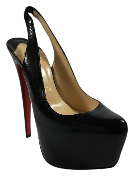 Christian Louboutin Black Daf Sling Leather Platforms Size US 6.5 Regular (M, B)