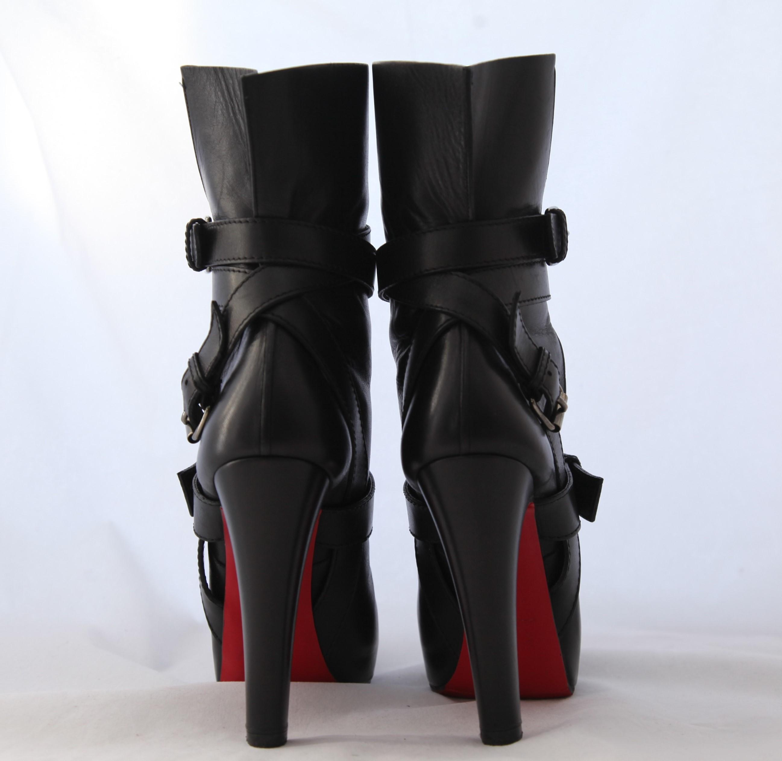 6ab6f88b777 ... Christian Christian Christian Louboutin Black Guerriere High Heel Lady  Fashion 38.5italy Leather Platform Ankle Boots ...