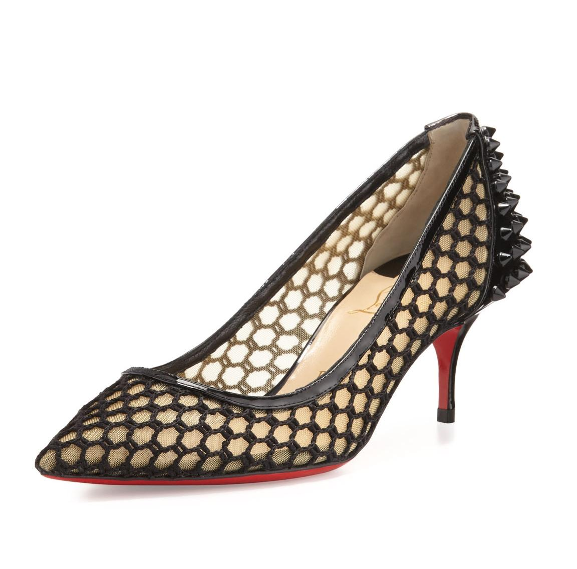 969044d7c201 Man Woman Man Woman Man Woman :Christian Louboutin Black Guni Mesh Spike  55mm Red Sole Pumps Size EU 37 (Approx. US 7) Regular (M