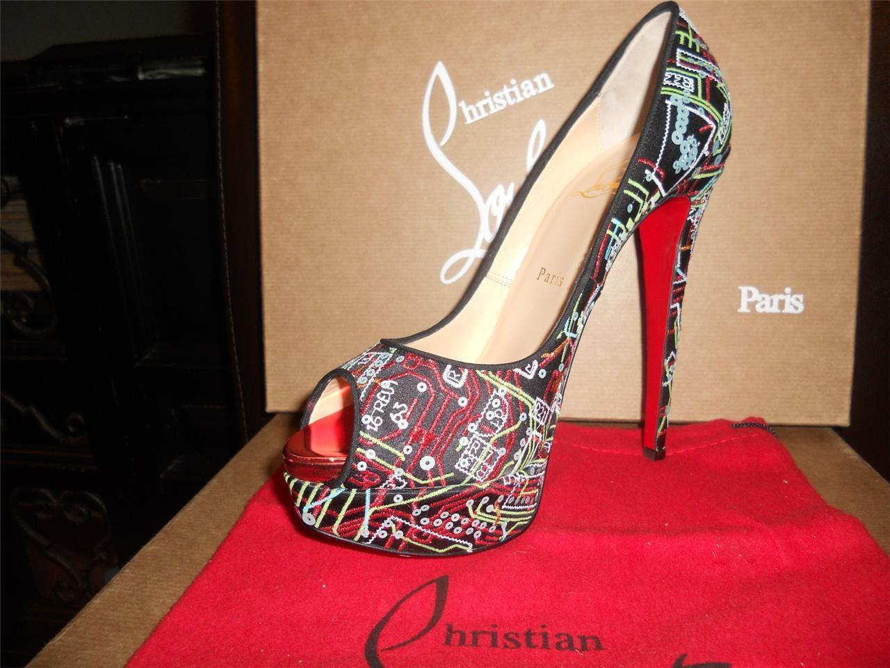 800c2a26904 ... Christian Louboutin Black Black Black Lady Peep Geek Embroidered Open  Toe Platform 36.5 Pumps Size US ...