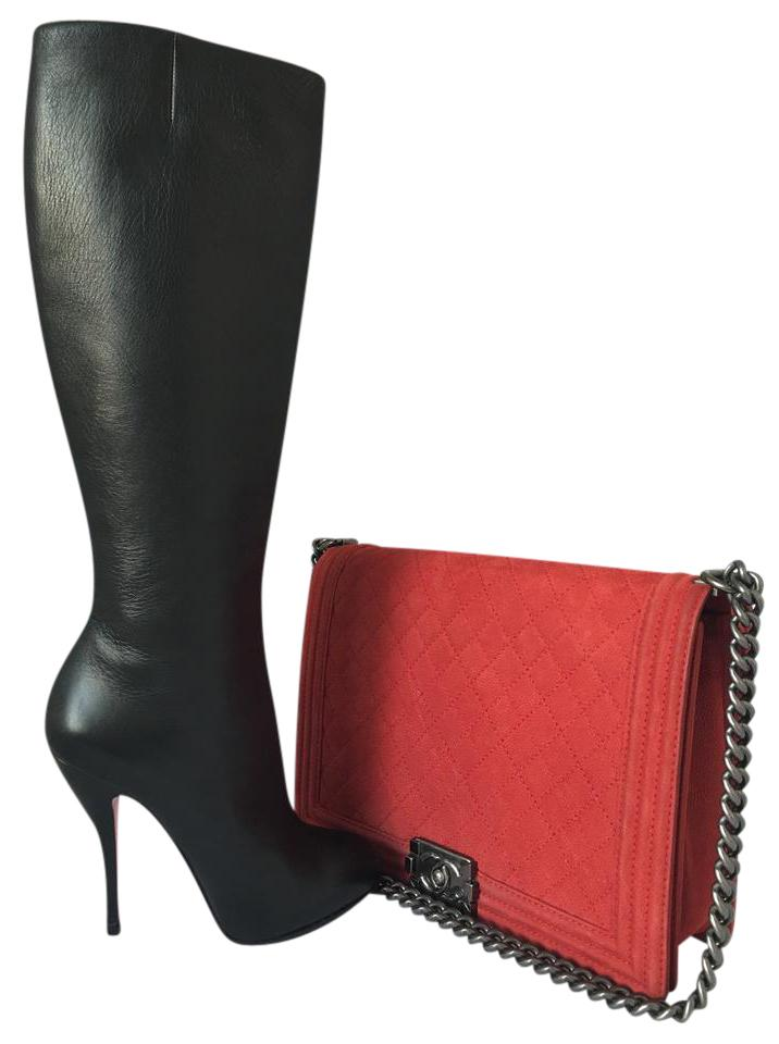 Christian Louboutin Black Leather Platform Over Knee Heel Lady Fashion Red High Toe Boots/Booties Size US 7 Regular (M, B)