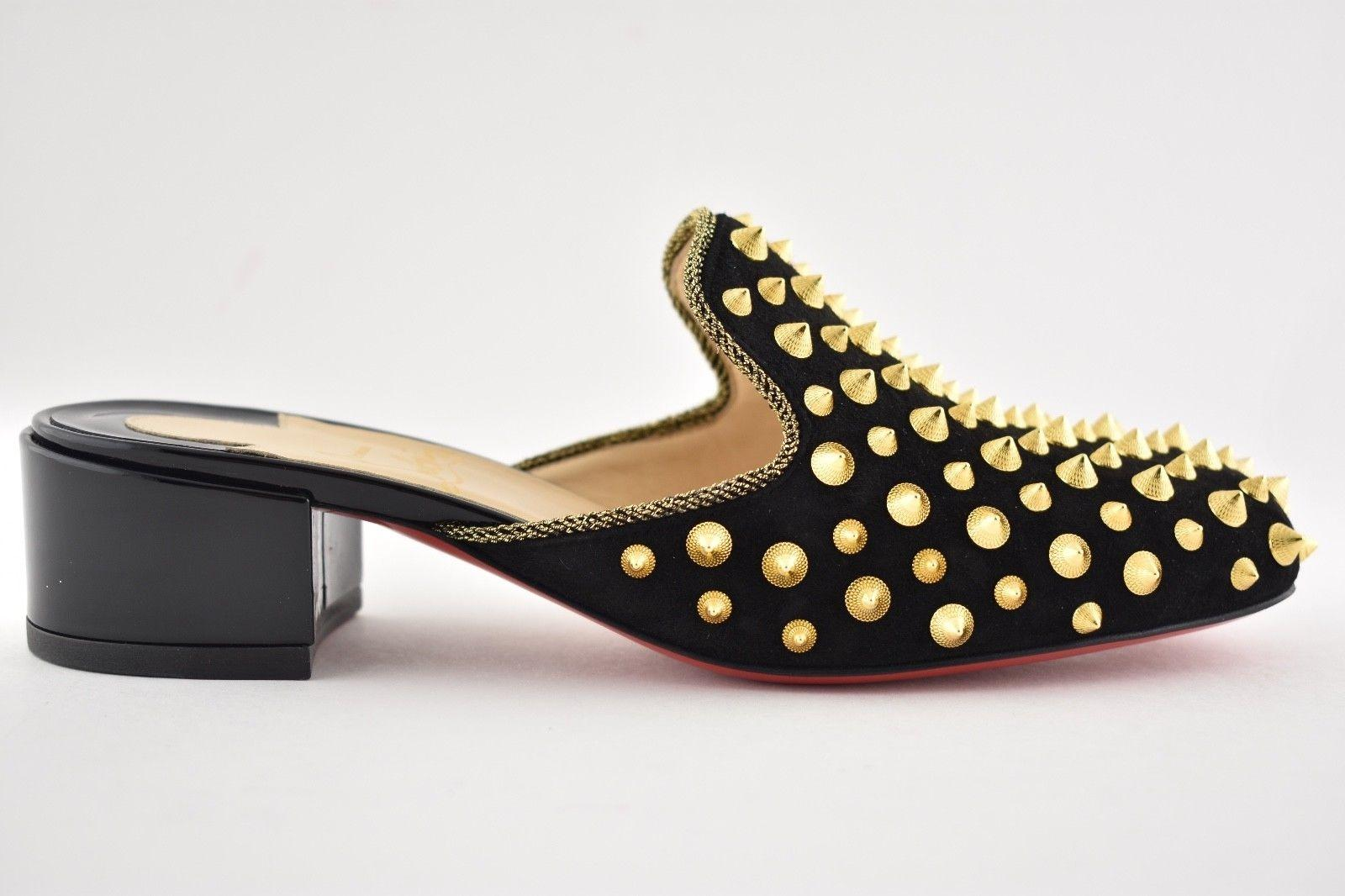 7f10bce9cfb ... sale heel mulaconka patent christian black suede gold flat stud spike  slides louboutin loafer 35 mules