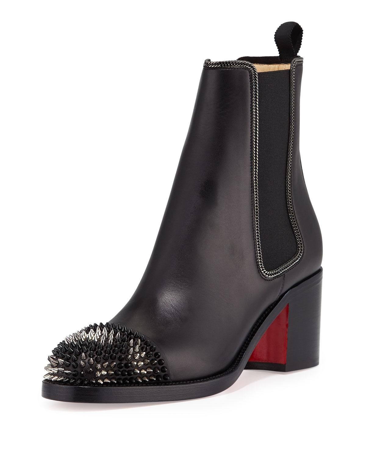 Christian Louboutin Black Otaboo Spike-toe 70mm Red Sole Chelsea Boots/Booties Size EU 39 (Approx. US 9) Regular (M, B)