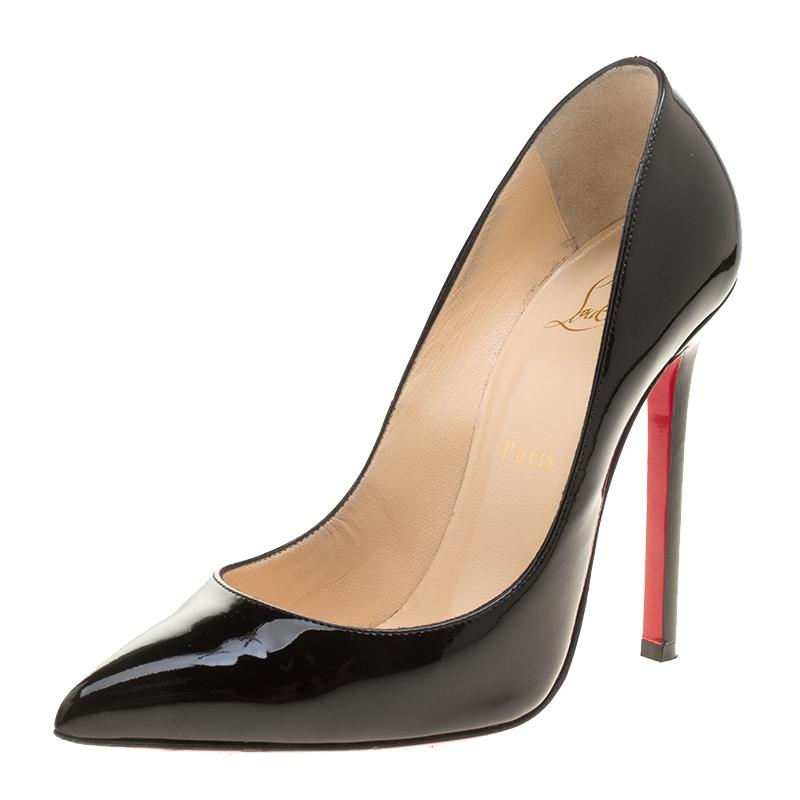 Christian Louboutin Black Patent Leather Pigalle Pointed Pumps Size EU 37.5 (Approx. US 7.5) Regular (M, B)