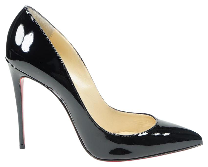 Christian Louboutin Black Pigalle Follies 100mm 39/8 Patent Leather Pointed Toe Pumps Size US 8 Regular (M, B)