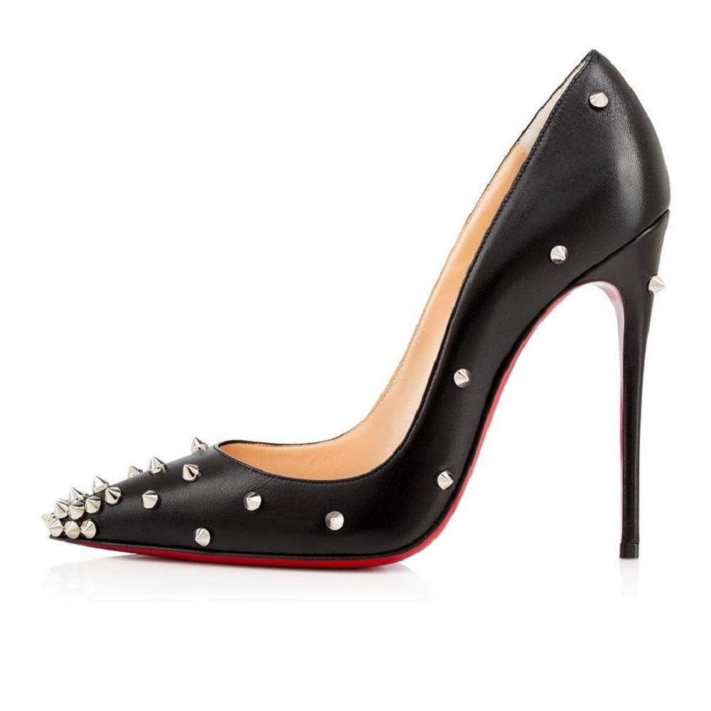 475c2aa7838 Christian Louboutin Black Silver Leather Leather Leather Degraspike Studded  120m Pumps Size EU 37.5 (Approx. US 7.5) Regular (M