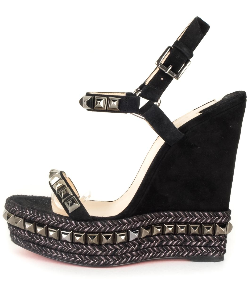 60a3a069150 where can i buy louboutin black wedges ff94c 22f00
