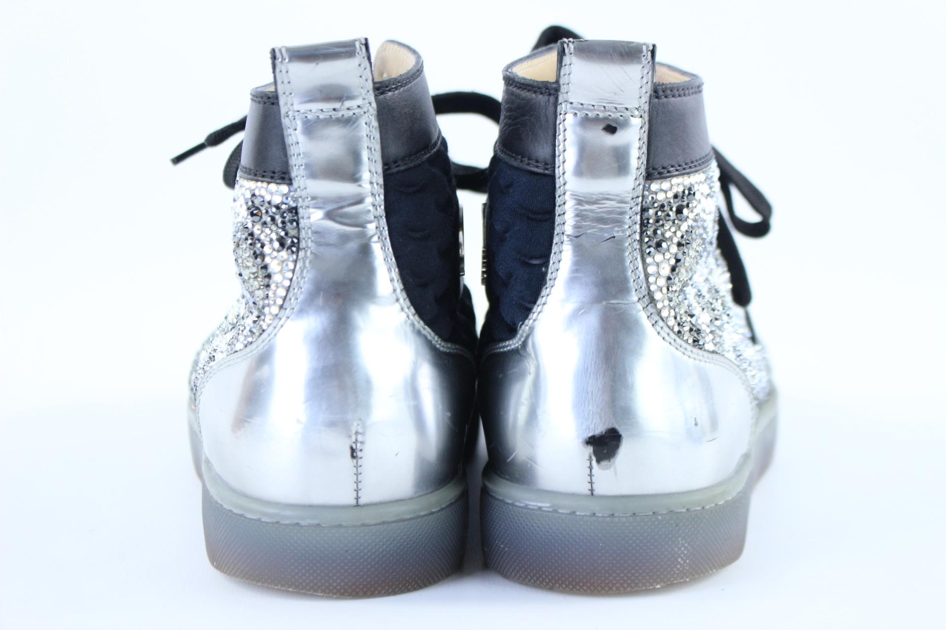 43562e19aa80 ... Christian Christian Christian Louboutin Black X Silver Strass No Limit  Spike Toe High Top Sneakers 6clb1222 ...