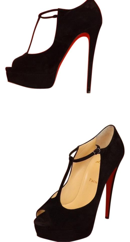 Christian Louboutin Black/Gold Altapoppins 150 Suede T Strap Platform Pumps Size EU 37.5 (Approx. US 7.5) Regular (M, B)