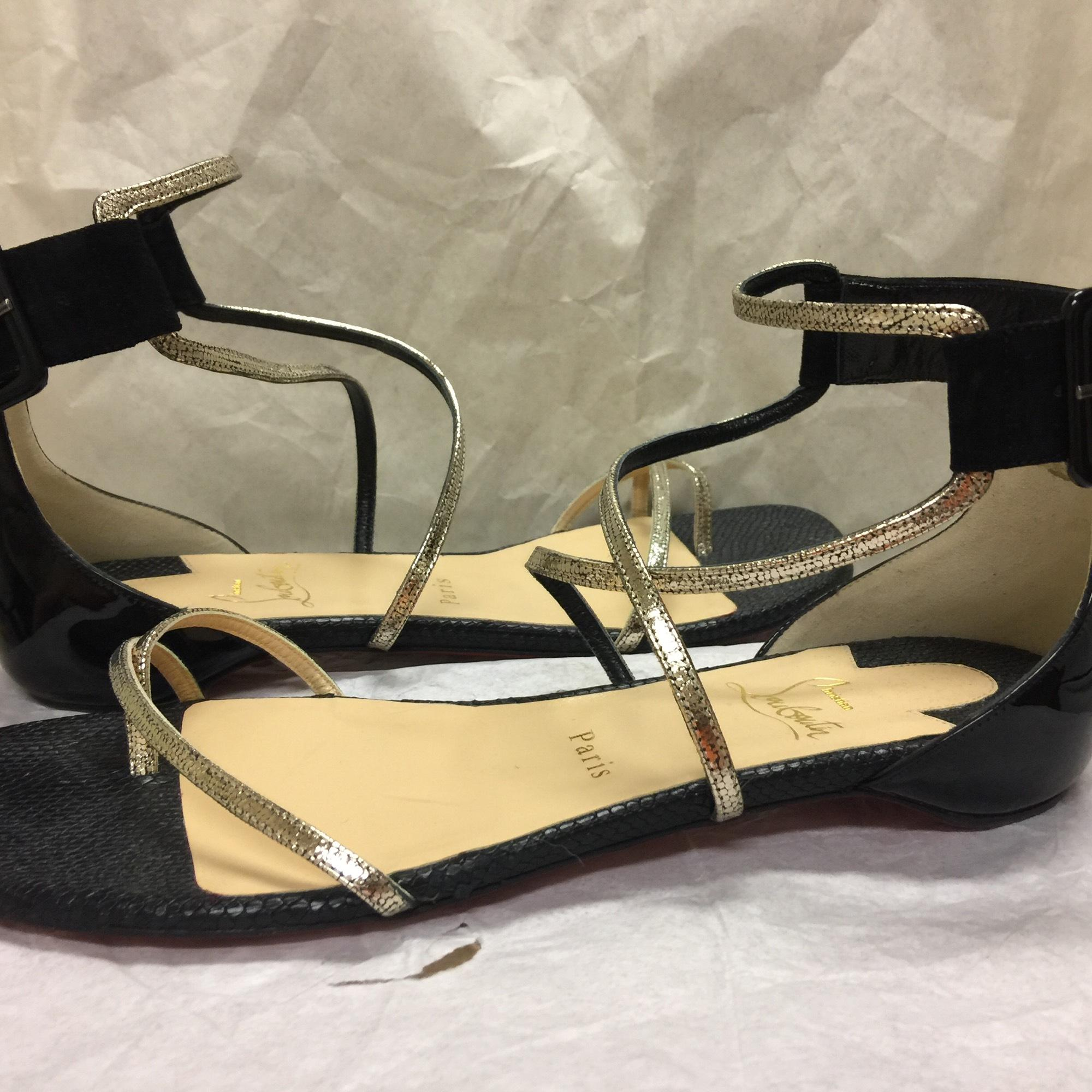 1aa85446fff995 ... uk christian louboutin antigua bay flat black platinum sandals.  123456789 3e5dd e70ff