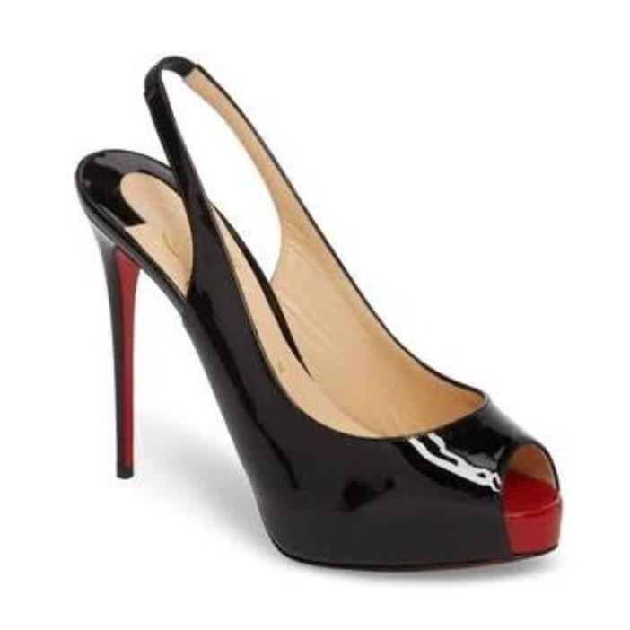 Christian Louboutin Black/Red New Very Prive Patent Sole Pumps Size US 8.5 Regular (M, B)