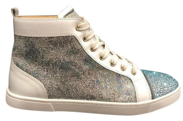 Christian Louboutin Blue Bip Bip Strass Flat Glitter Hightop Sneaker Sneakers Size US 10.5 Regular (M, B)