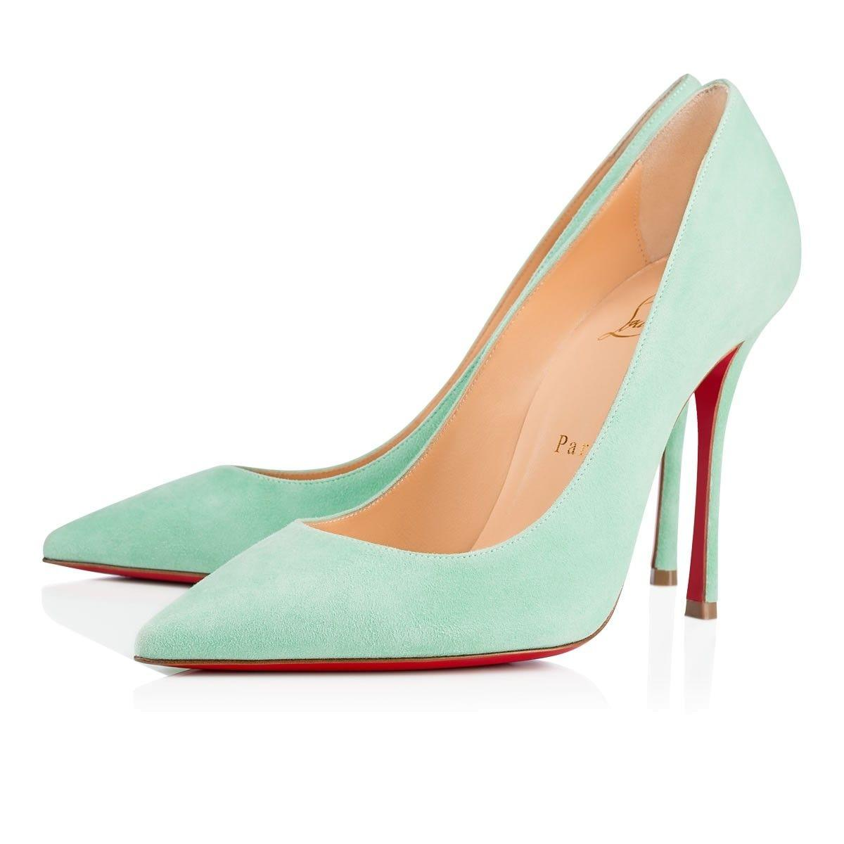 Christian Louboutin Blue Classic Decoltish 100mm Mint Suede Leather Point-toe Heels Pumps Size EU 37.5 (Approx. US 7.5) Regular (M, B)