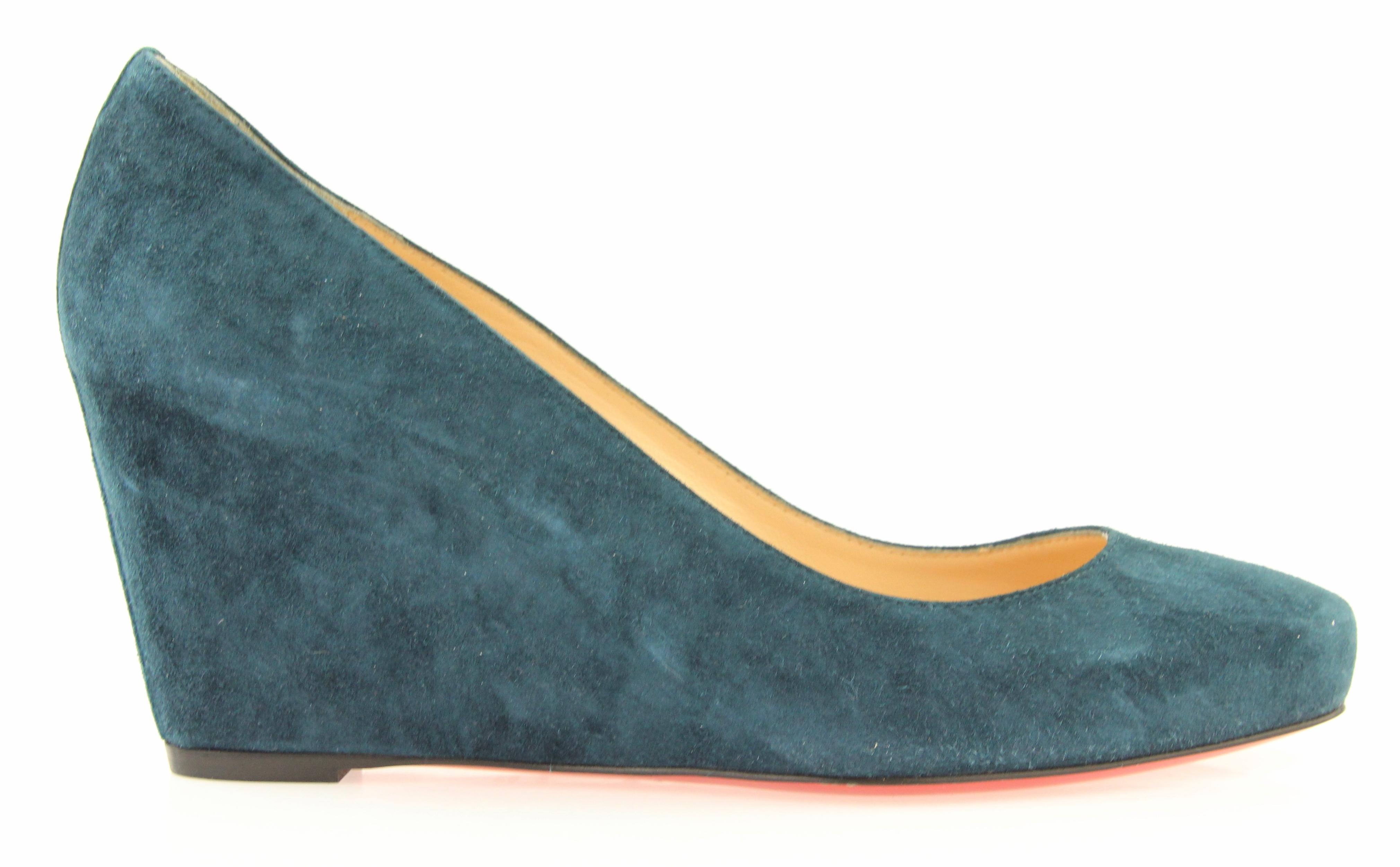 e625a2e2267d Christian Louboutin Blue Teal Teal Teal Melissa Wedges Size EU 38.5 (Approx.  US 8.5