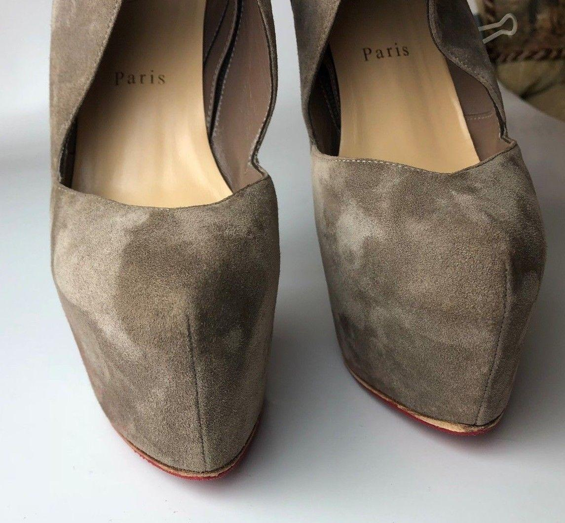 2f1dbb937f57 ... Christian Christian Christian Louboutin Black Donue 160 Gray Taupe  Suede Platform Ankle Boots Booties Size ...