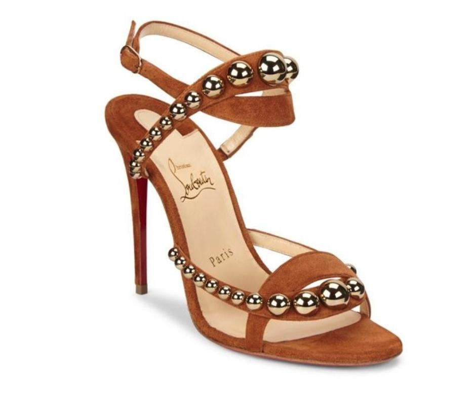 Christian Louboutin Brown Bronze Cannelle Galeria 100mm Suede Studded Strappy Heels A929 Sandals Size EU 39 (Approx. US 9) Regular (M, B)