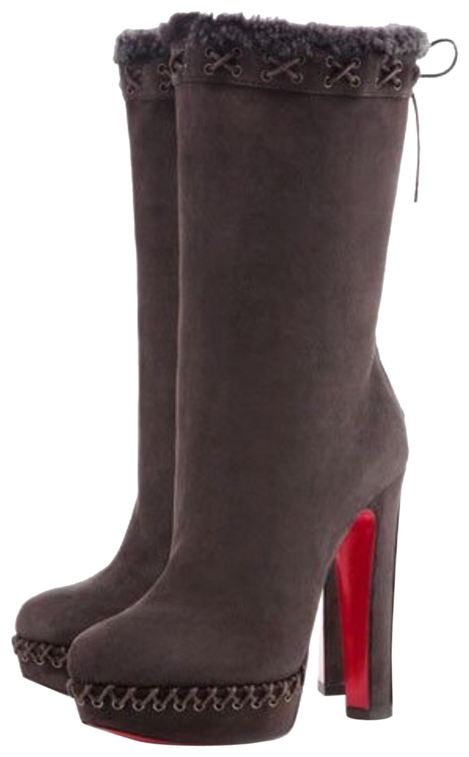 c4643f71beee Christian Christian Christian Louboutin Brown Gray Step N Roll 140 Suede  Shearling Lined Platform Boots Booties Size EU 38 (Approx. US 8) Regular  (M