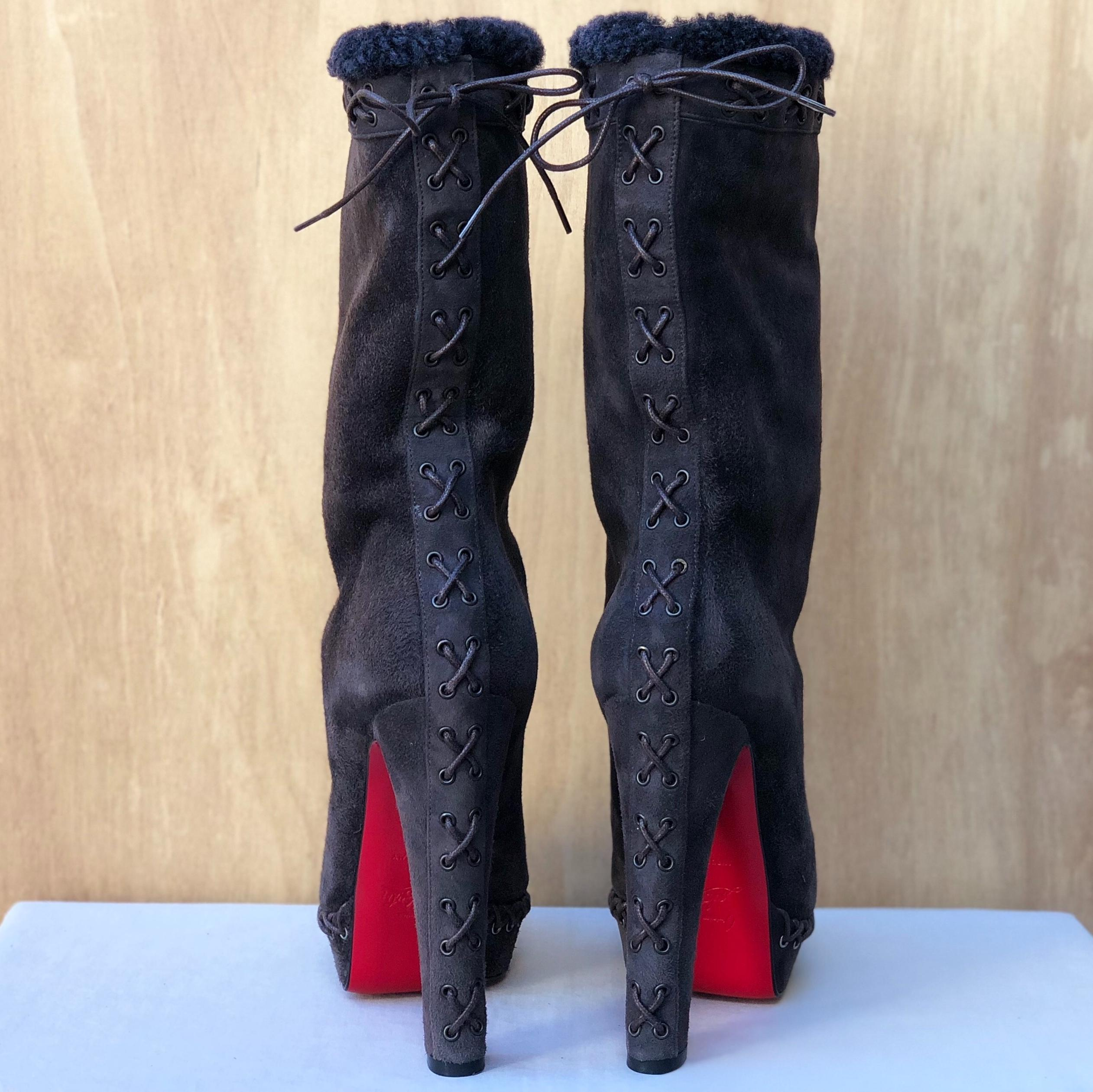 7c9b0c0aed93 ... Christian Christian Christian Louboutin Brown Gray Step N Roll 140  Suede Shearling Lined Platform Boots  ...