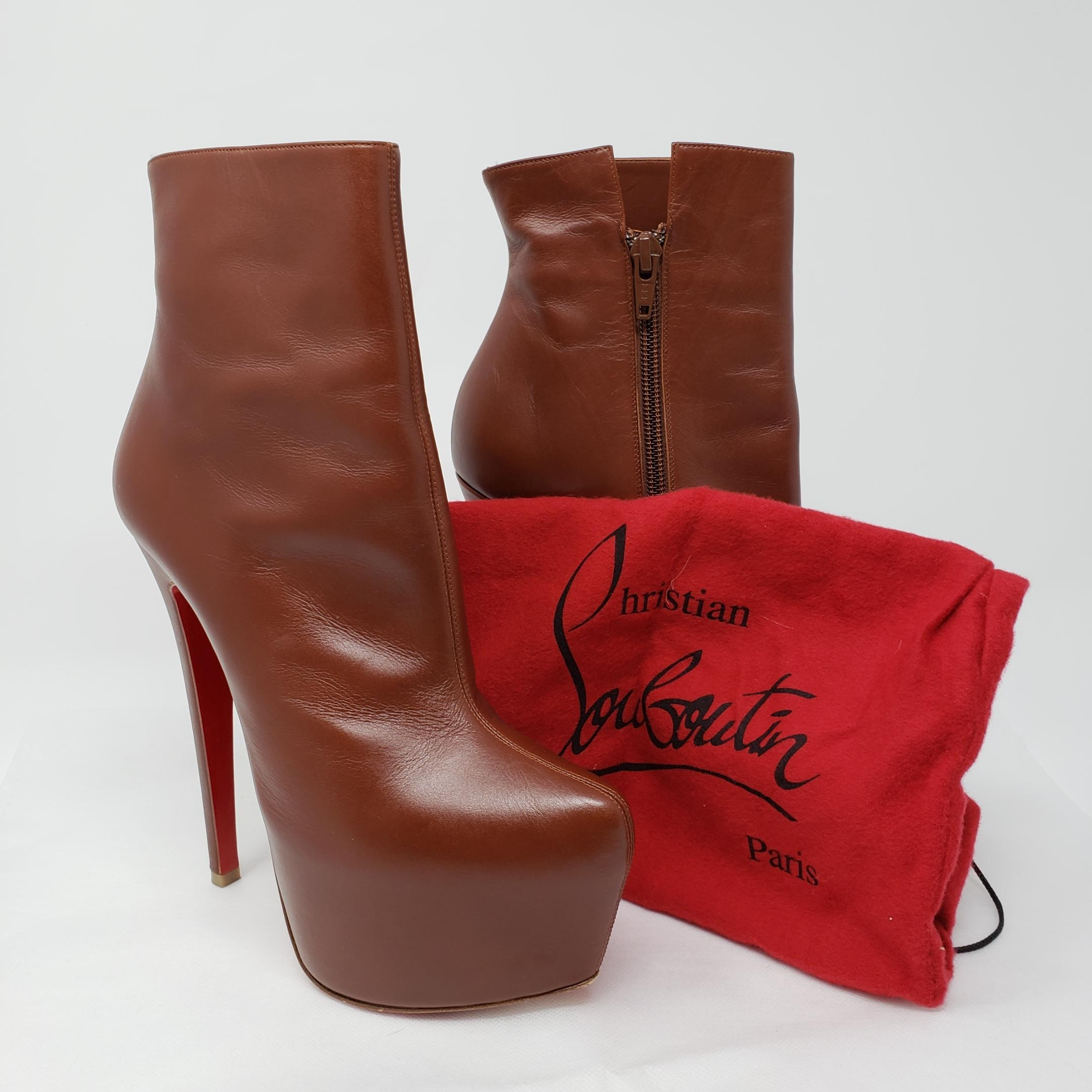 eb0591c52938 ... Christian Louboutin Brown Leather Leather Leather Daffodile Pointed-toe  Boots Booties Size EU 35 ...