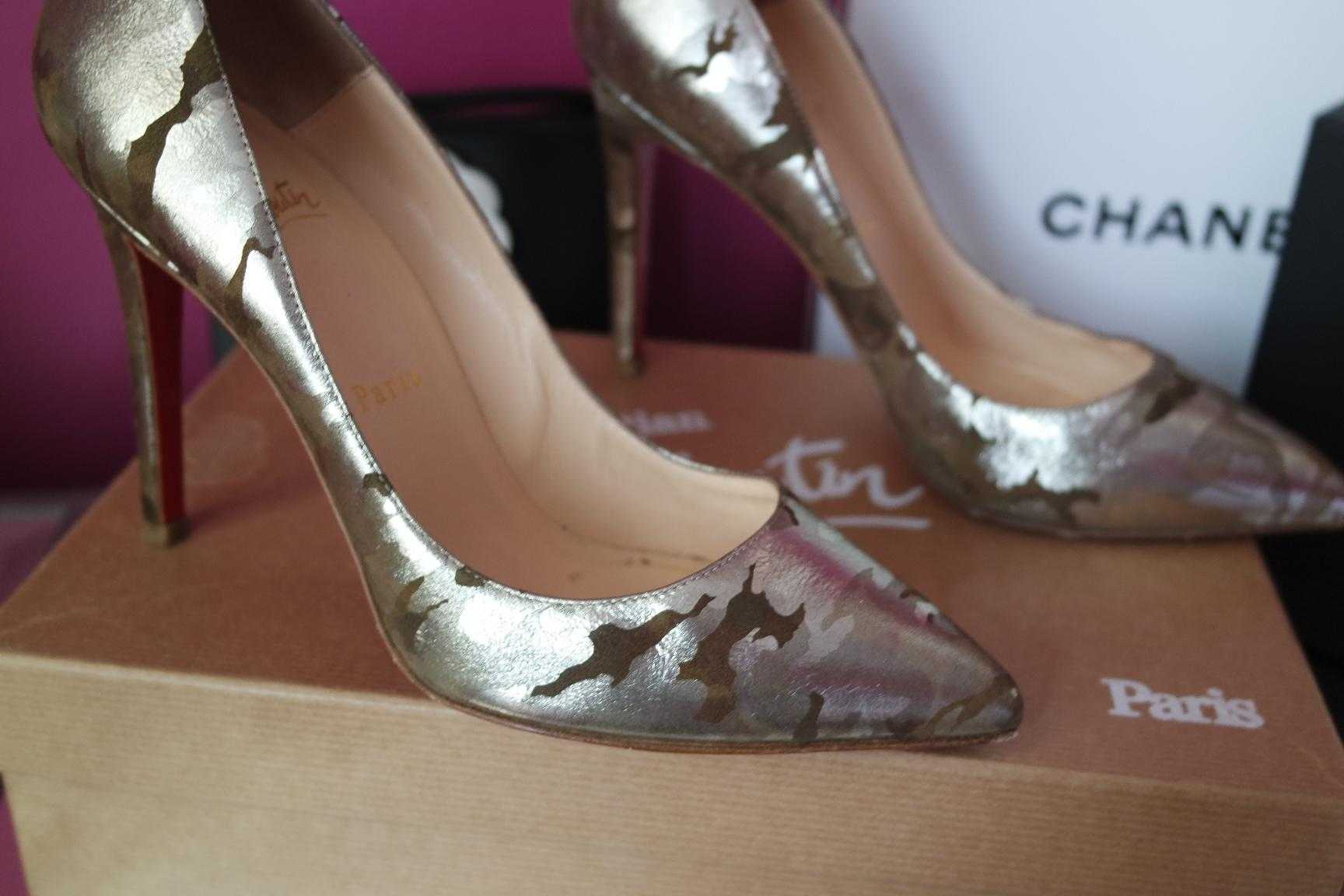 who makes the designer shoes with red soles christian louboutin pigalle 37