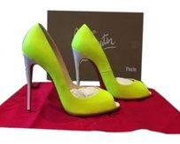 Christian Louboutin Youpi Open Toe Neon Fluo 120mm Heels Yellow Pumps