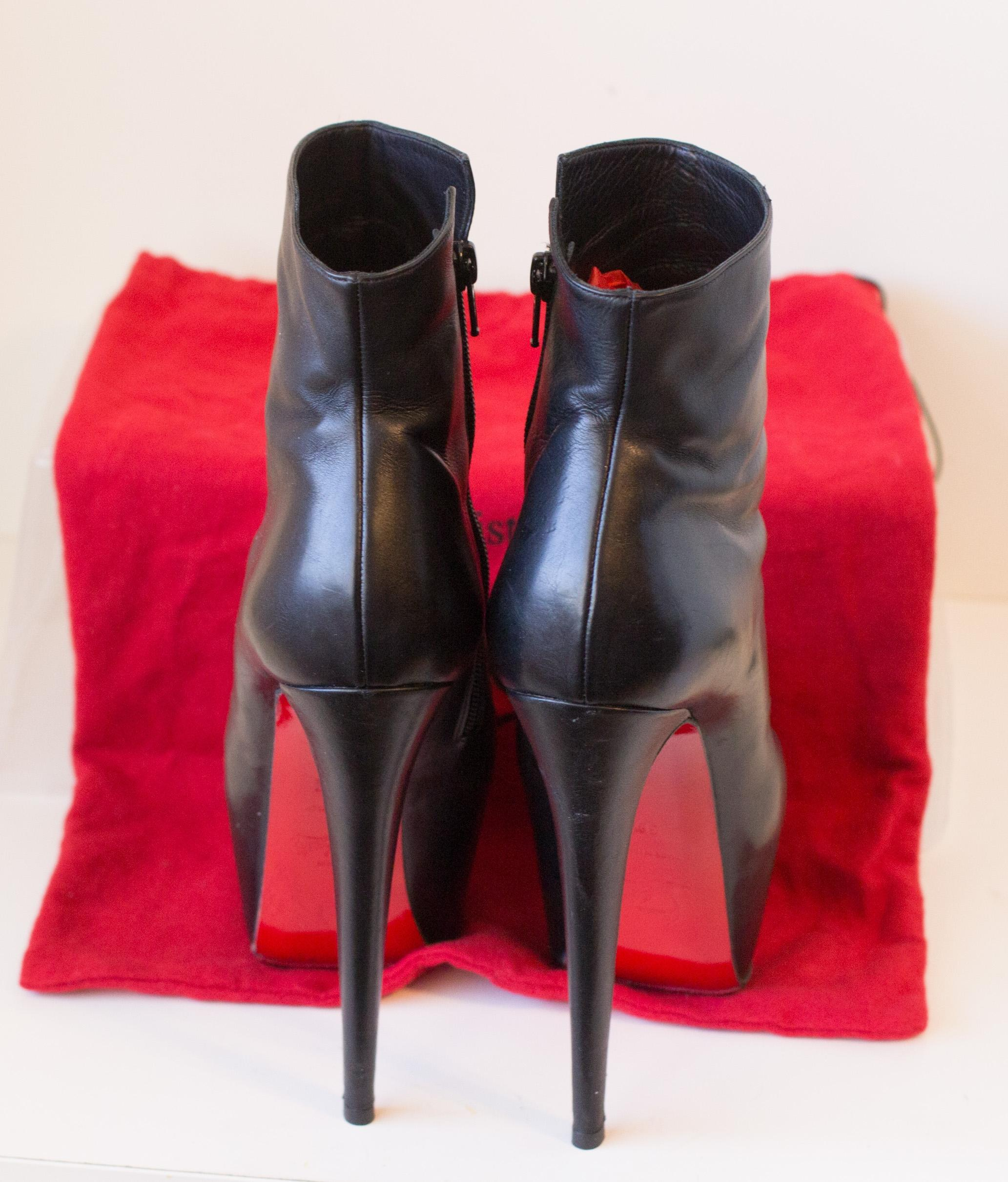 36580607b3a9 ... Christian Louboutin Daf Booty Black Leather Ankle Ankle Ankle Boots  Pumps Size EU 38.5 (Approx ...