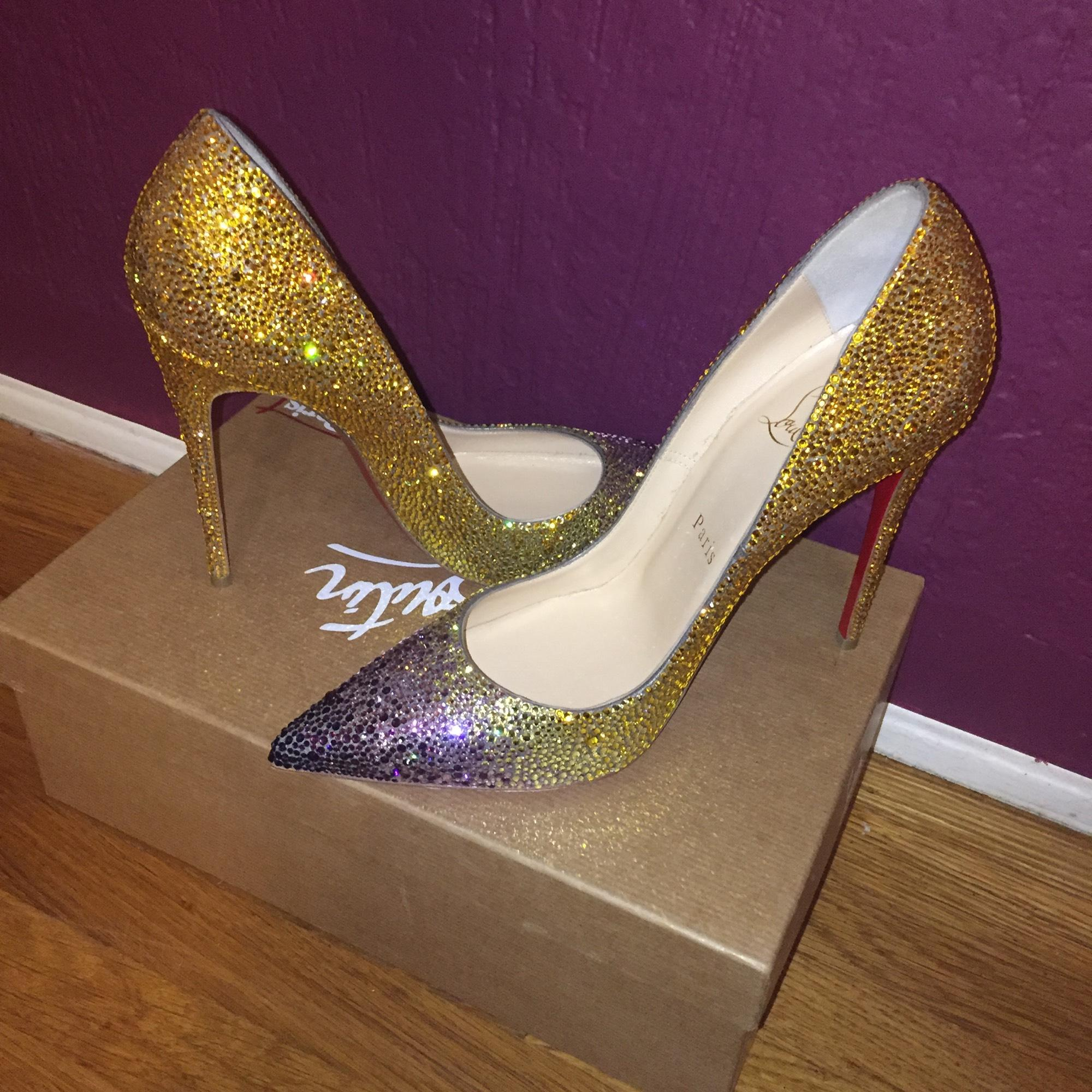 Christian Louboutin Gold & Purple Ombre So Kate and Strass Pumps ...