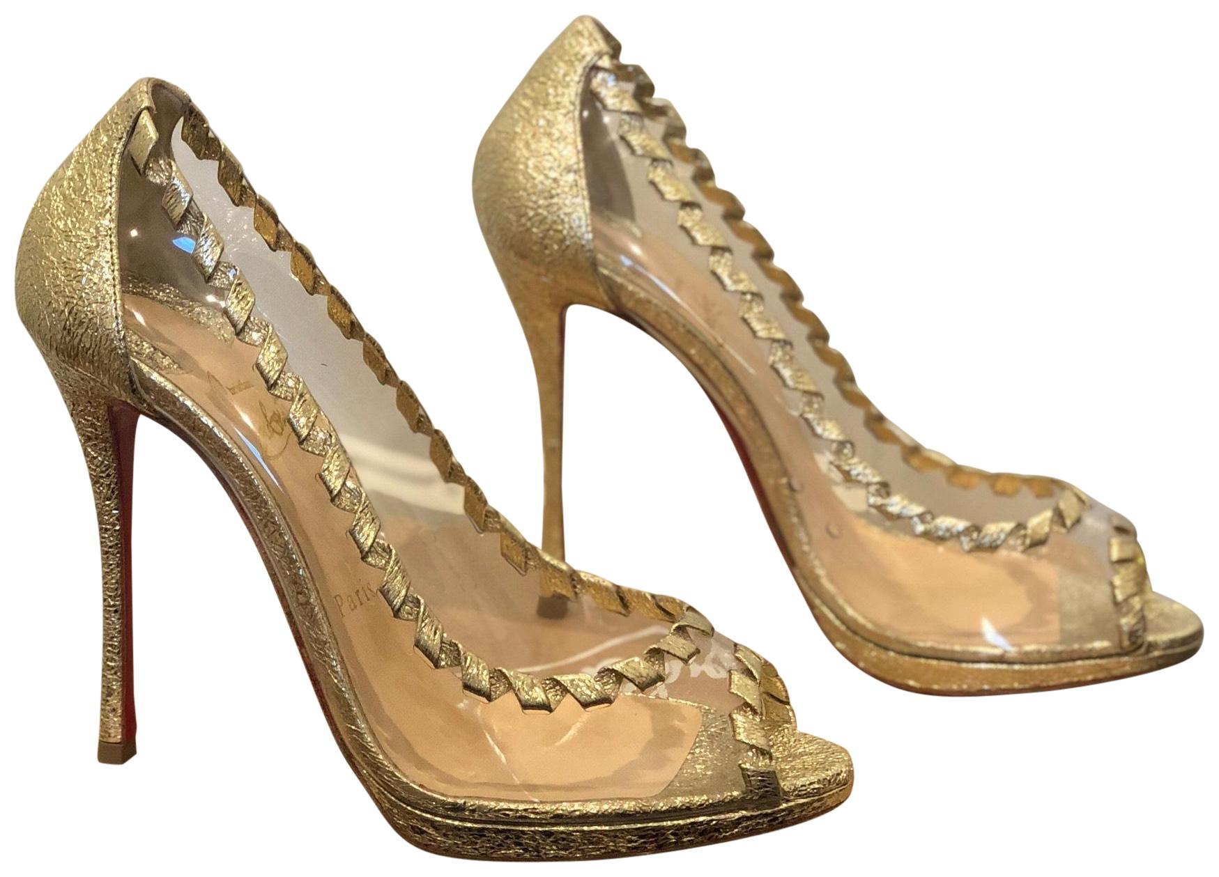 Christian Louboutin Gold Heels Pumps Size EU 38.5 (Approx. US 8.5) Regular (M, B)