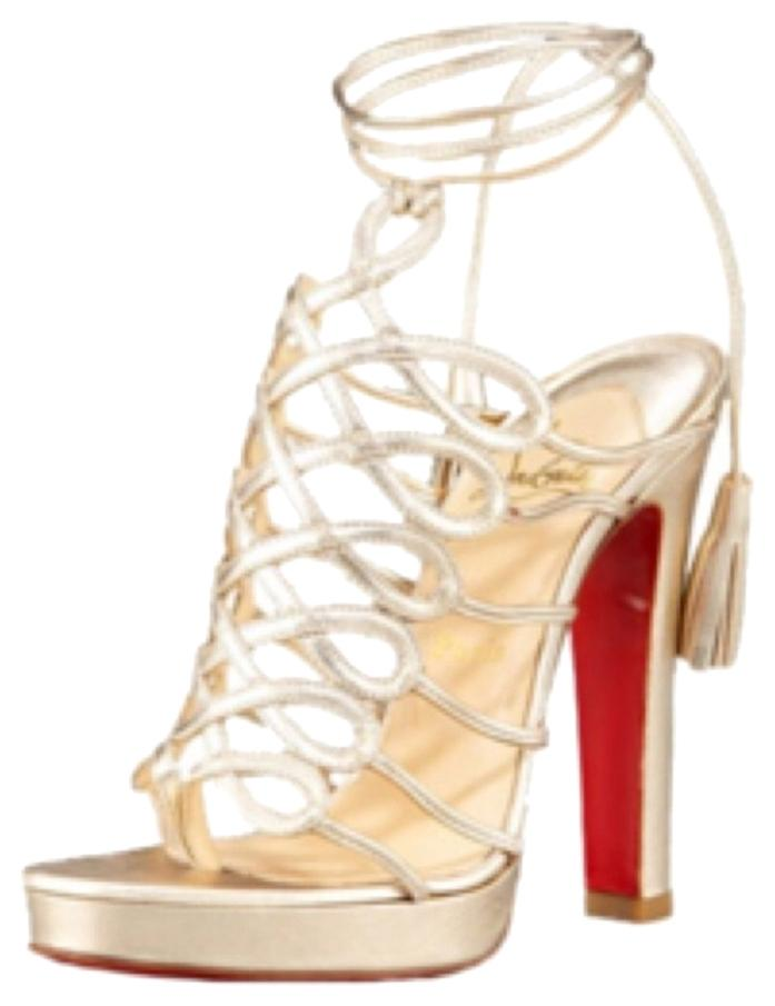 Christian Louboutin Gold Metallic Leather Salsbourg 120 Ankle Wrap Heels Platforms Size US 8.5 Regular (M, B)