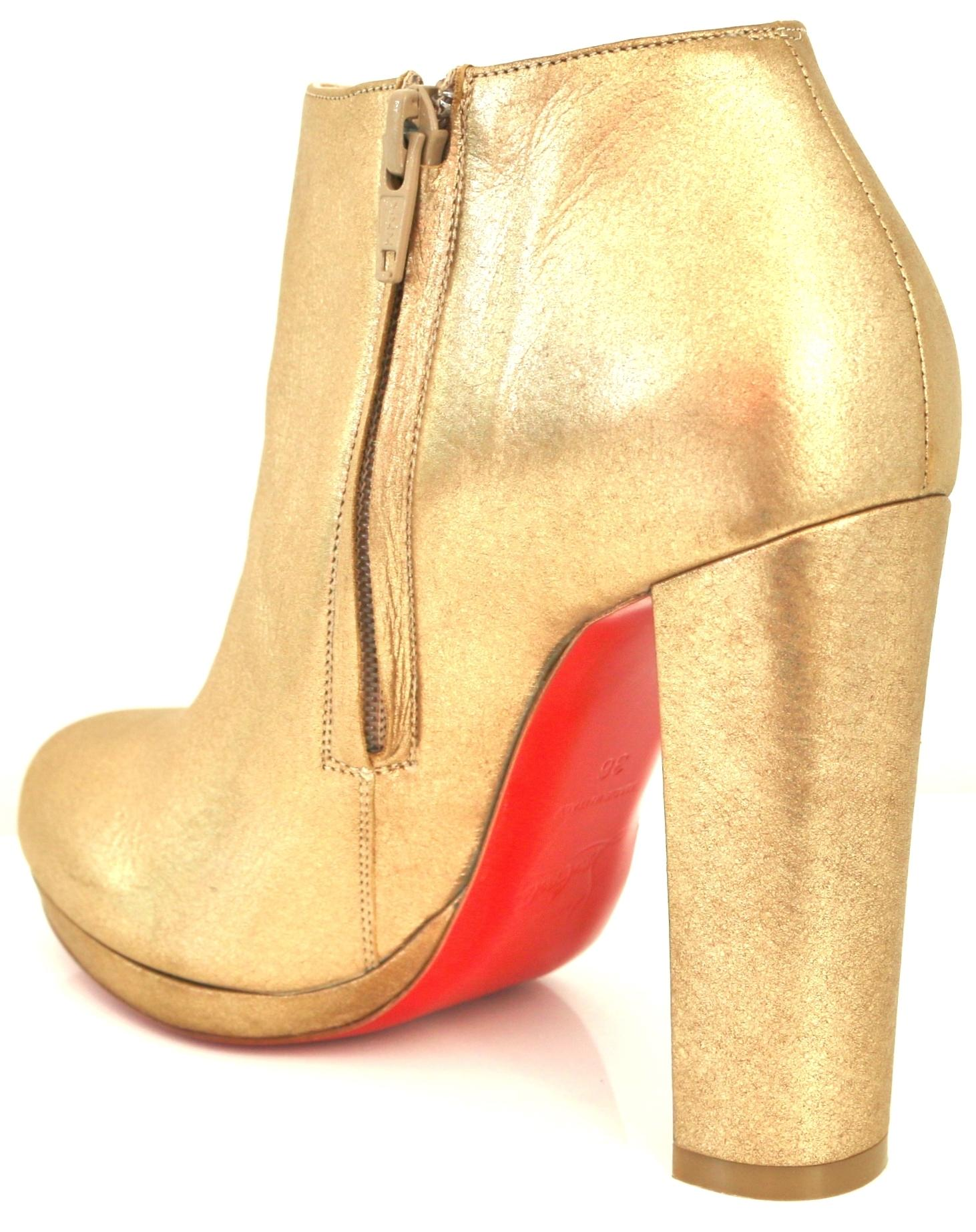 2aa58841898 ... shopping christian louboutin rock and 120 mm metallic leather chunky  heel ankle 36 gold boots 8ecdc