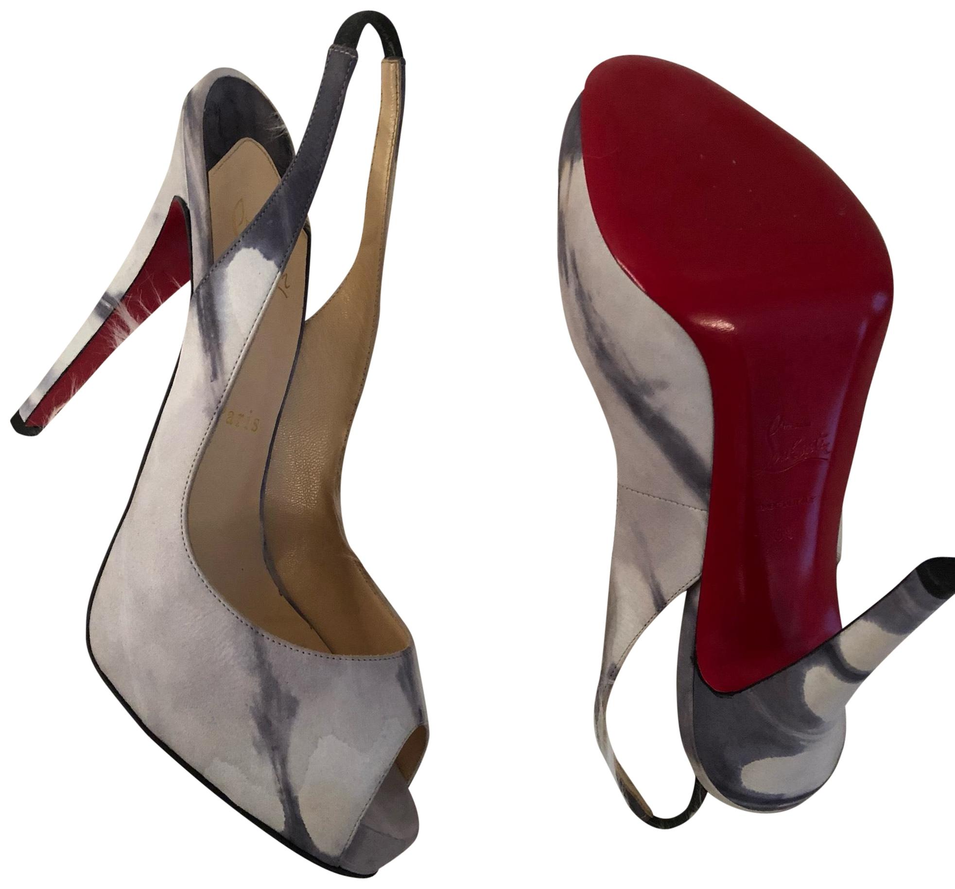 cd546be0b7f Christian Louboutin Gray and Black Open Pumps Size EU EU EU 39 (Approx. US  9) Regular (M