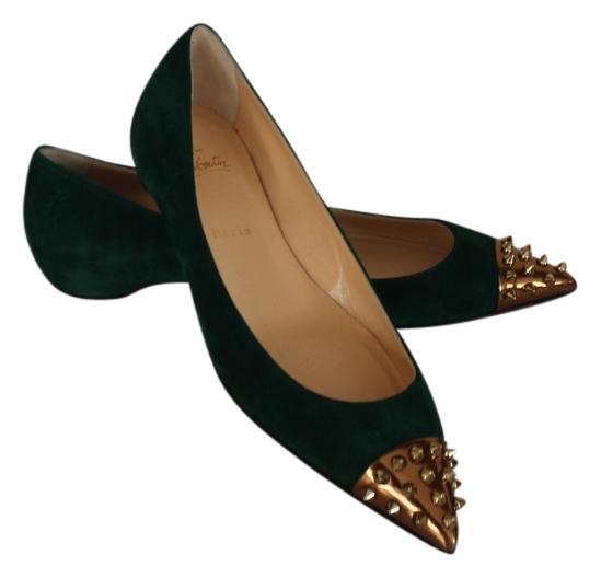 Christian Louboutin Green Suede Gold-tone Studded Pointed Cap-toe New 39.5 Flats Size US 9.5 Regular (M, B)