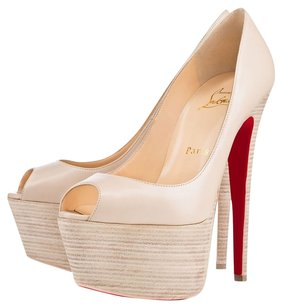 Christian Louboutin Jamie Stacked Heel Cream Pumps