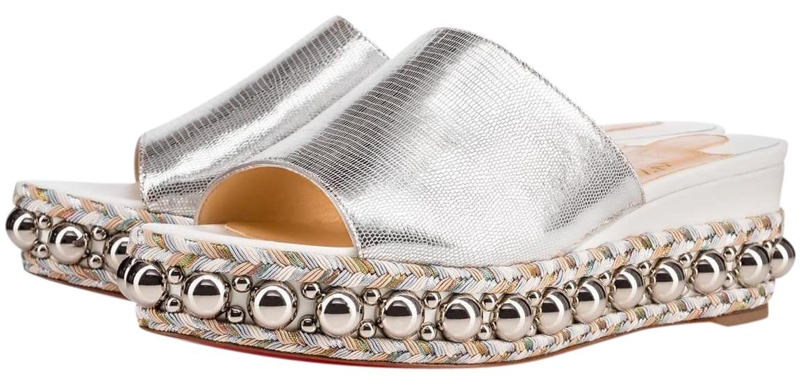 Christian Louboutin Latte Metallic Silver Janibasse 60mm White Studded Spike A899 Sandals Size EU 39 (Approx. US 9) Regular (M, B)