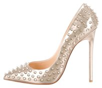 Christian Louboutin Leather Metallic Metallic Hardware Stiletto Pointed Toe Pigalle 41 11 Spike Spiked Embellished Studded Textured So Kate Gold Pumps