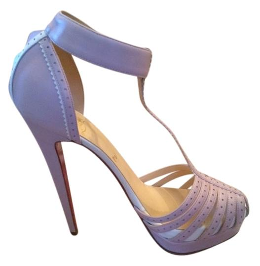 Christian Louboutin Lilac White Ronette 160 Sandals Size EU 37.5 (Approx. US 7.5) Regular (M, B)
