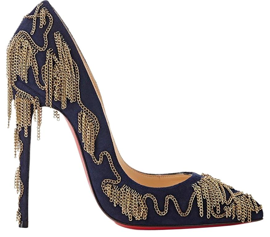 Christian Louboutin Midnight Blue with Dark Gold Chains Dolly ...