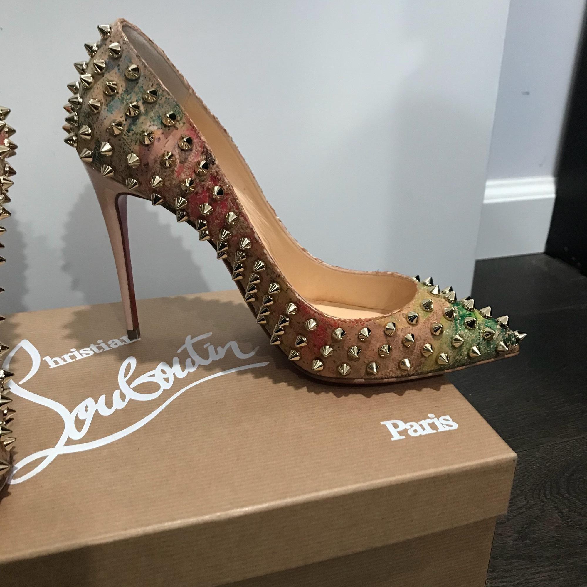 7819f10b4b7 Christian Louboutin Multicolor Follies Spikes Blooming-cork 100mm ...