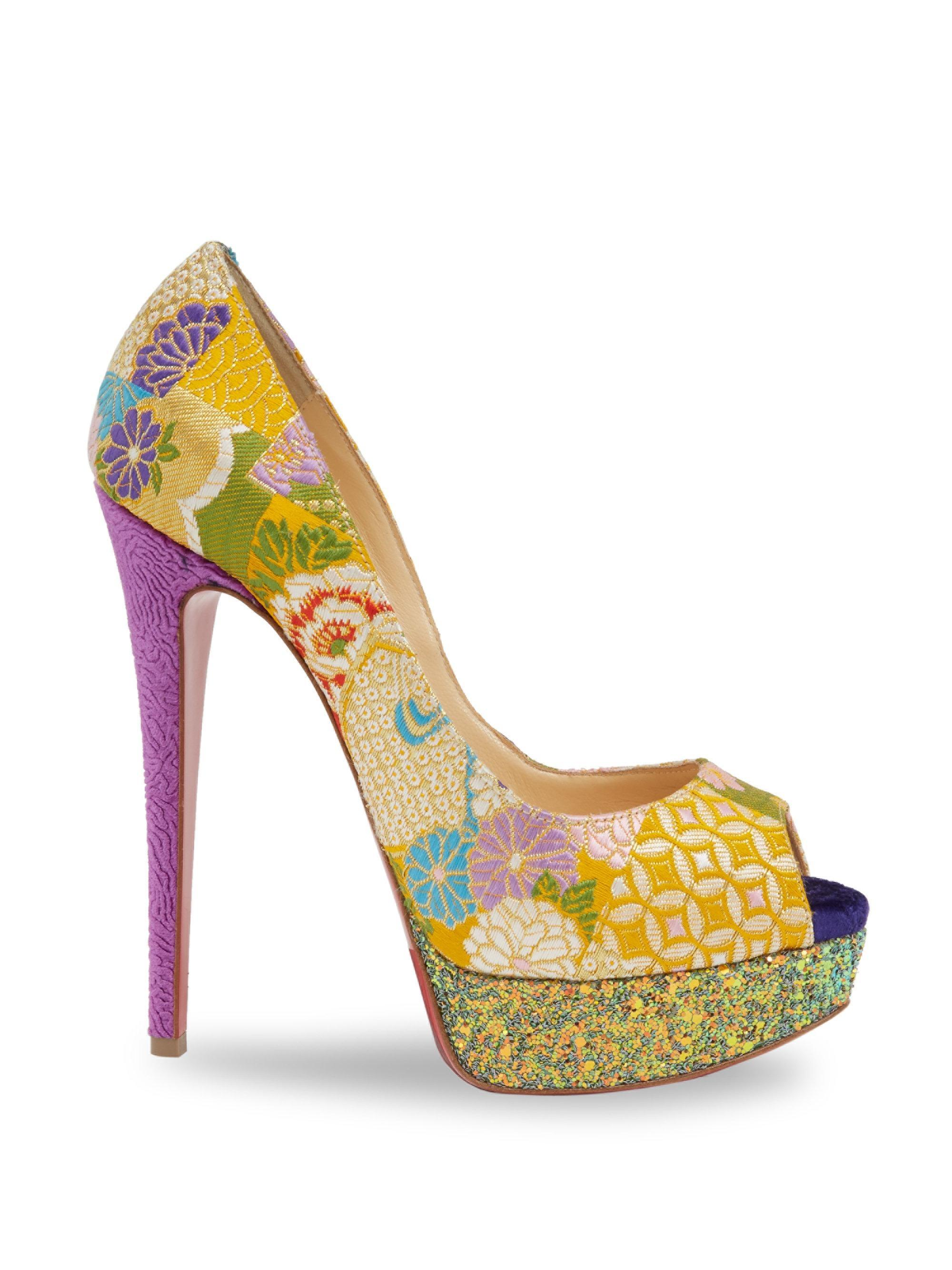 f692d09f41376 ... official christian louboutin lady peep toe stiletto platform glitter  multicolor pumps 0ea2c 70630