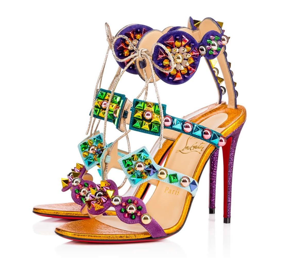 Christian Louboutin Multicolor Last One Kaleikita 100mm Suede and Leather Sandals Size US 7 Regular (M, B)
