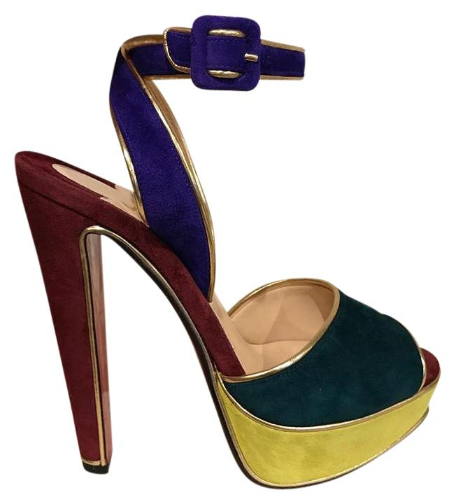 Christian Louboutin Multicolor Louloudance 140 Ankle Platform Heel 39 Pumps Size US 9 Regular (M, B)