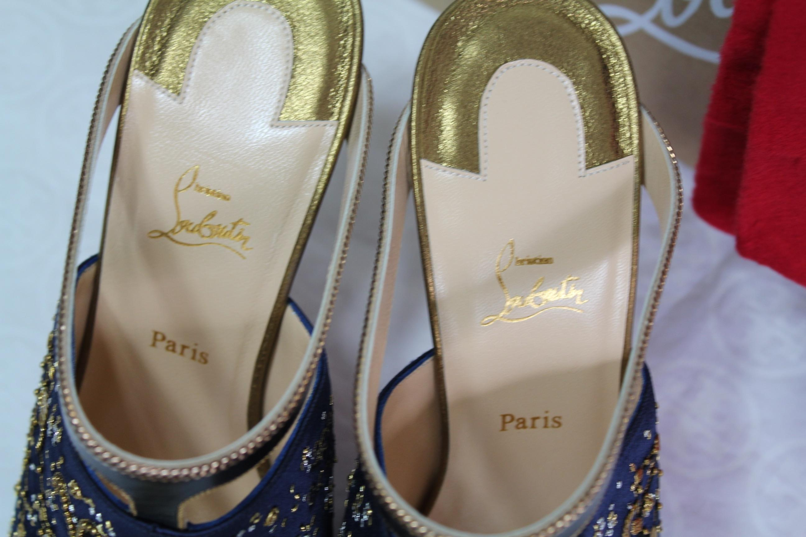 091f777e0 ... Christian Louboutin Navy Gold New Box Limited Edition Satin Aries Aries  Aries Zodiac Slides Mules Heels ...
