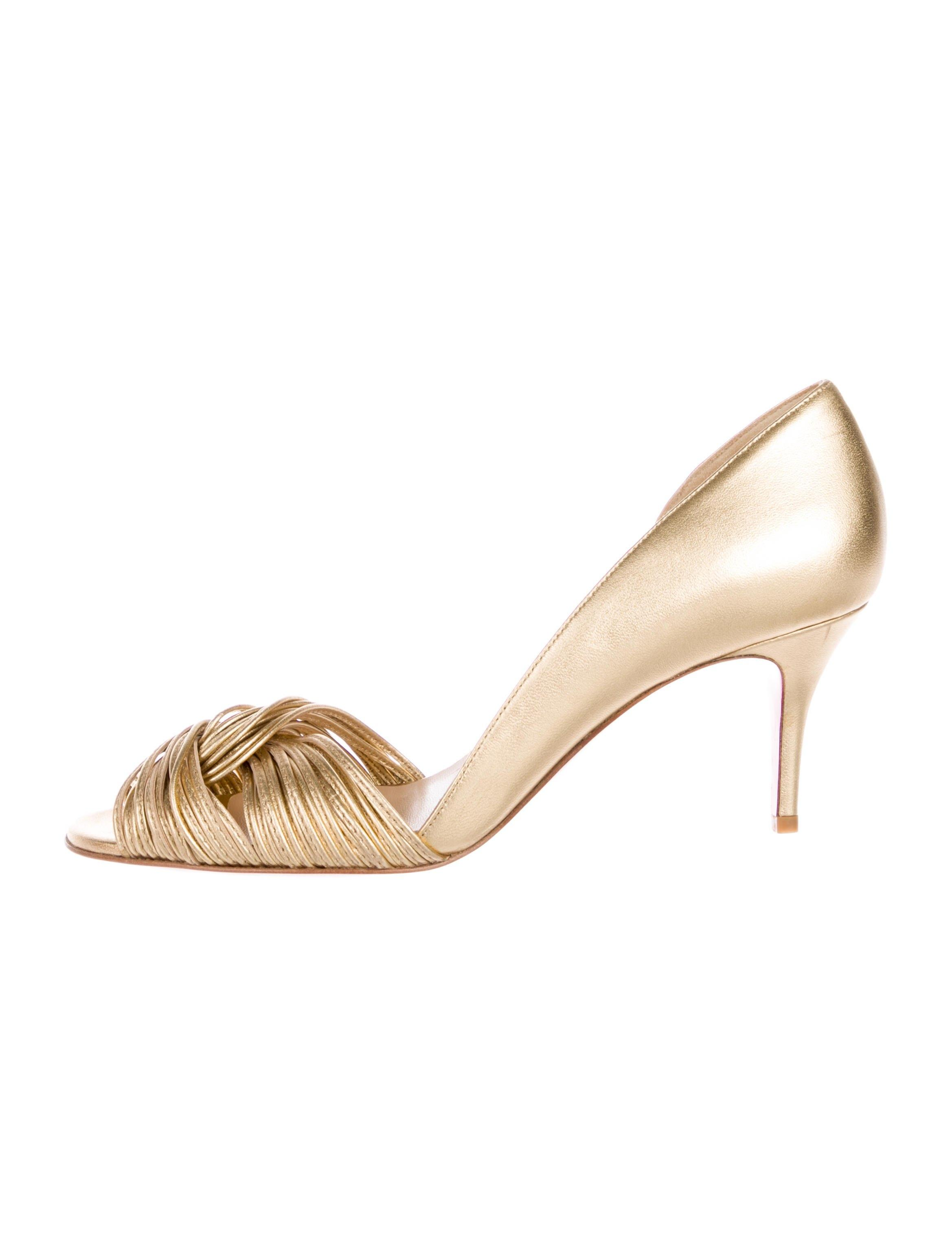 96e2d6112048 ... Christian Christian Christian Louboutin New Metallic Leather D-orsay 8 Pumps  Size EU 38 ...