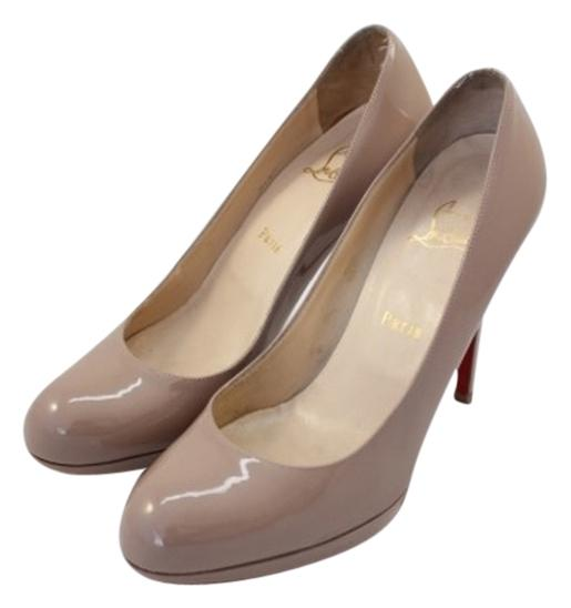 Christian Louboutin Nude New Simple 120 Patent Beige Leather 39.5 39 Pumps Size US 8.5 Regular (M, B)