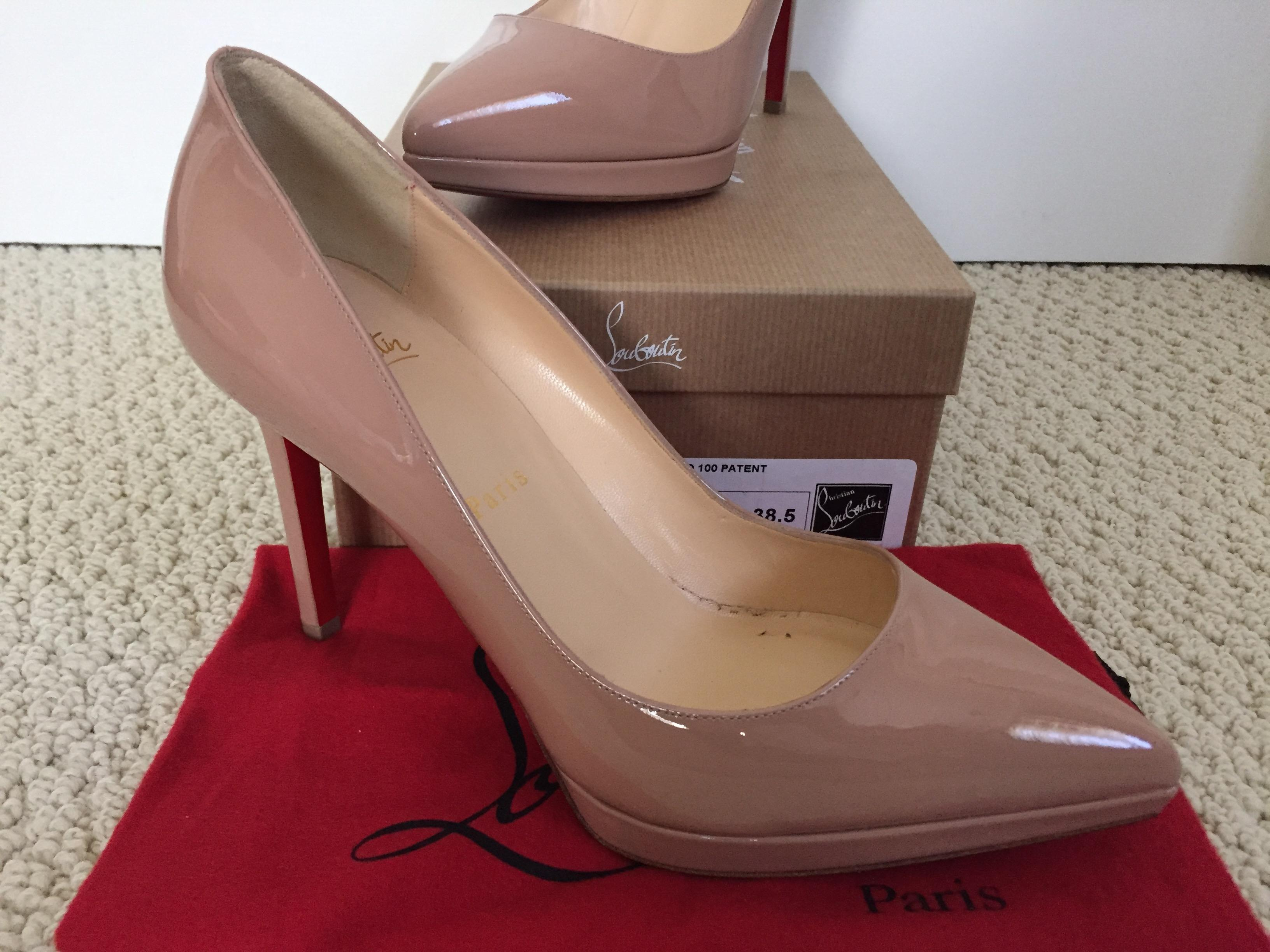 0547f959585 Christian Louboutin Nude Pigalle Plato 100 Patent Pointed Pumps ...