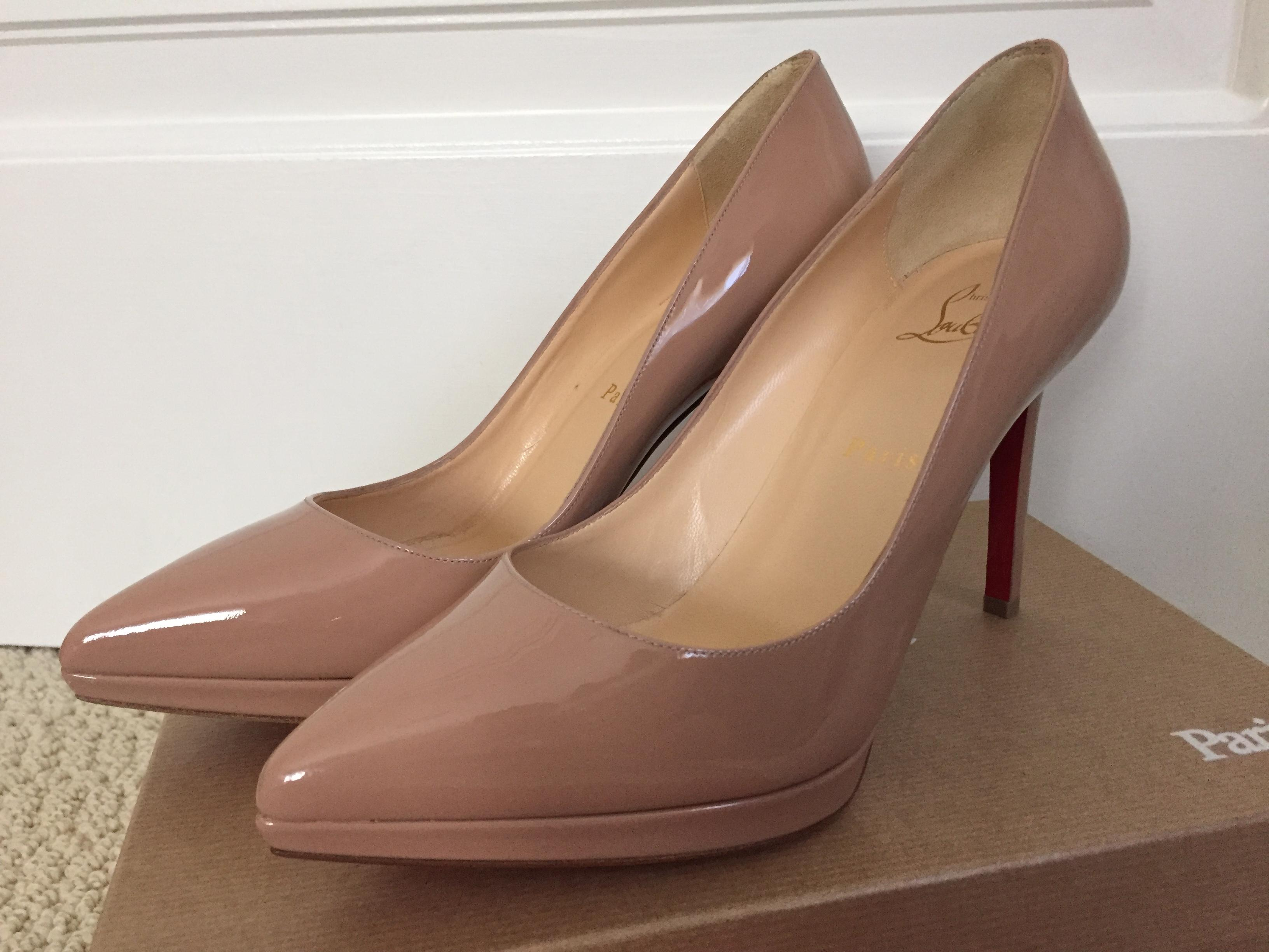 online store 3358d 86b58 Christian Louboutin Nude Pigalle Plato 100 Patent Pointed ...